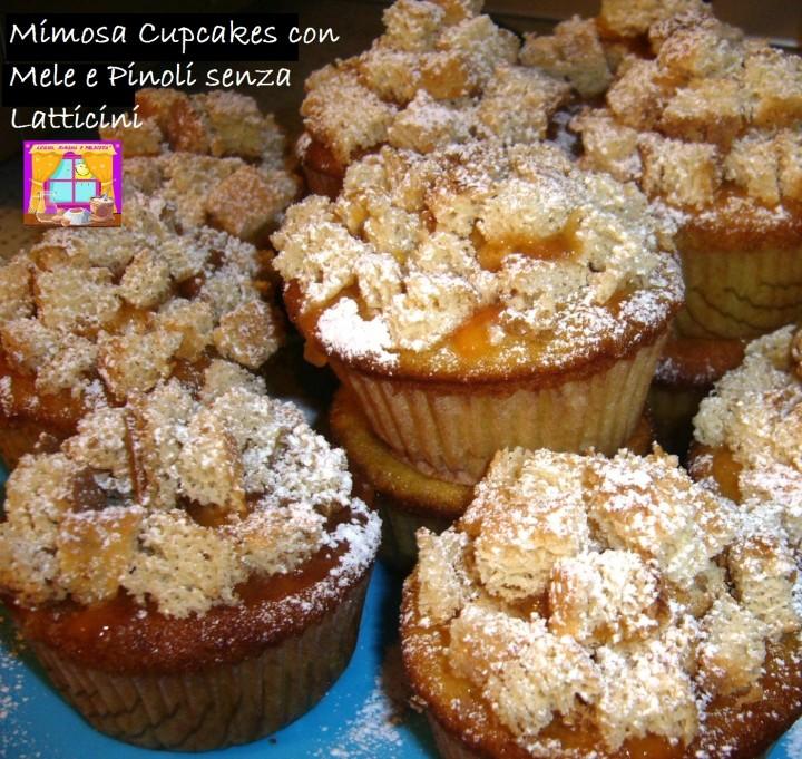 Mimosa Cupcakes con Mele e Pinoli senza Latticini