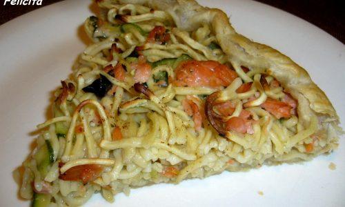 Torta Salata con Pasta, Salmone e Zucchine