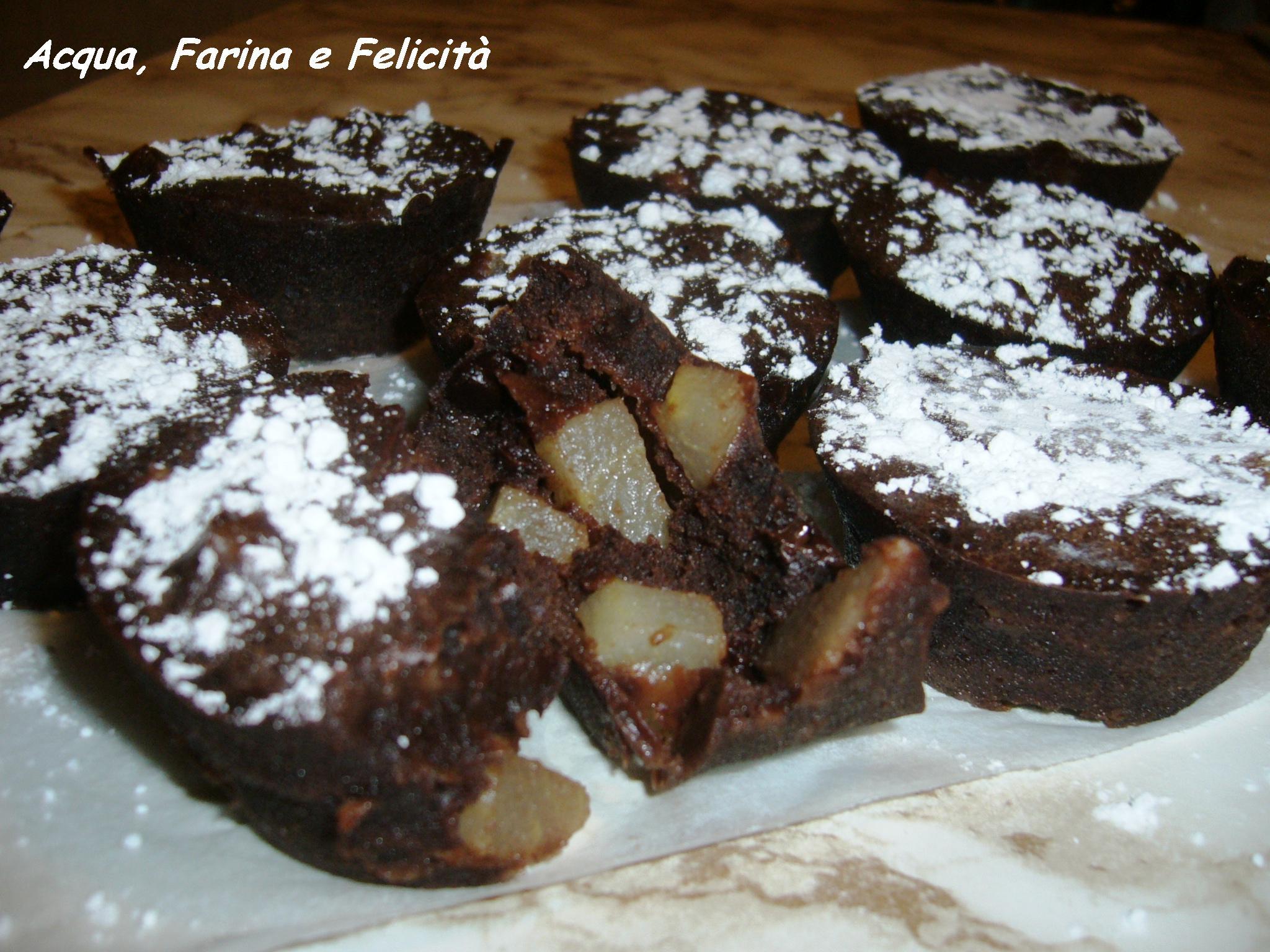 Tortine Pere e Cioccolato al Microonde