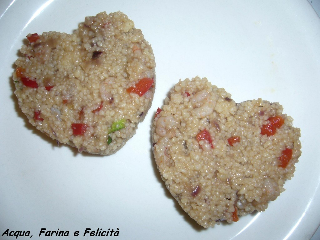 cous cous con gamberetti e peperoni in agrodolce