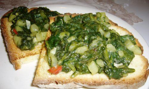 Bruschette con Erbette e Patate
