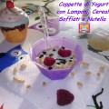 coppette di yogurt con lamponi, cereali soffiati e nutella