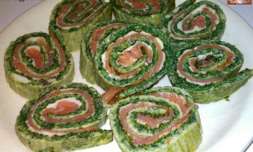 Girelle di Frittata con Spinaci e Salmone