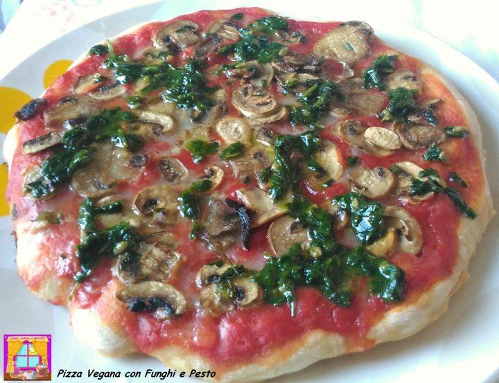Pizza Vegana con Funghi e Pesto